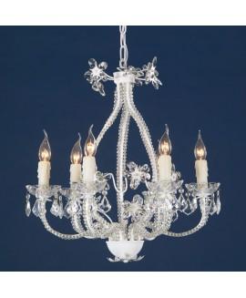 White Enamel & Clear Crystal Glass 6 Light Large Chandelier Ceiling Light
