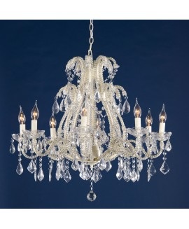 Marie Therese Cream & Clear French Glass Large 8 Arm Chandelier Light