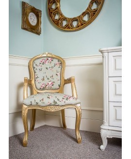 French Louis Armchair - Gold Green Pink Floral