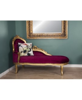 French Chaise Longue GoldRed