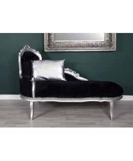 French Chaise Longue SilverBlack