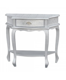 Chaandhi Kar Silver Embossed - Chaandhi Kar White-Silver Embossed Console Hall Bathroom Bedroom Table