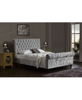 Chesterfield Velvet Bed - Silver