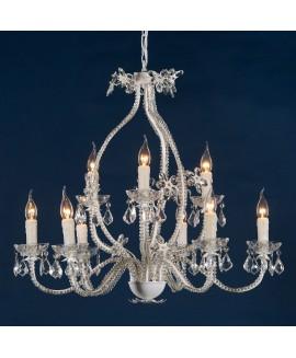 White Enamel & Clear Crystal Glass 9 Light Large Chandelier Ceiling Light