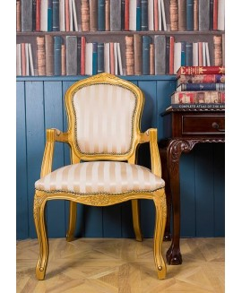 French Louis Armchair - Gold & Gold Stripe