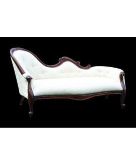 Louis Chaise Lounge- Mahogany & Cream