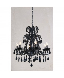 Marie Therese 6 Light Black Glass Large Chandelier