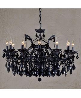 Vivianne Antique Black Crystal Glass 12 Light Large Chandelier Ceiling Light